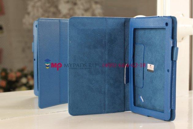 Фирменный чехол-обложка для Acer Iconia Tab B1-A71 синий кожаный