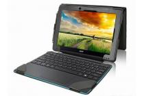 Фирменный чехол-футляр для Acer Aspire Switch 10 E (SW3-013) с отделением под клавиатуру /док станцию черный кожаный