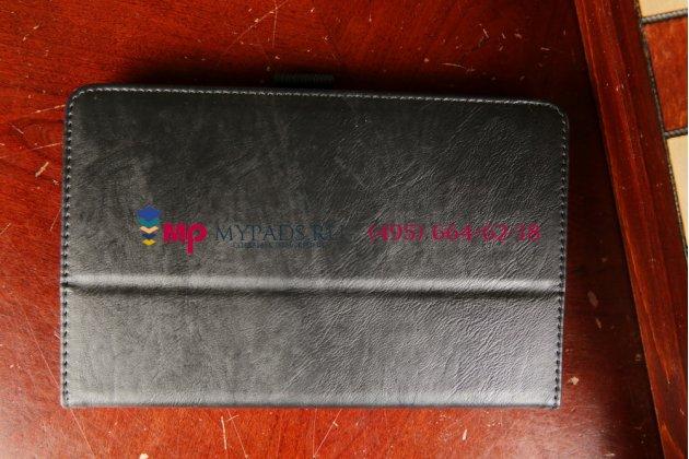 """Фирменный чехол-книжка для Acer Iconia Tab B1-720/B1-721 с визитницей и держателем для руки черный натуральная кожа """"Prestige"""" Италия"""