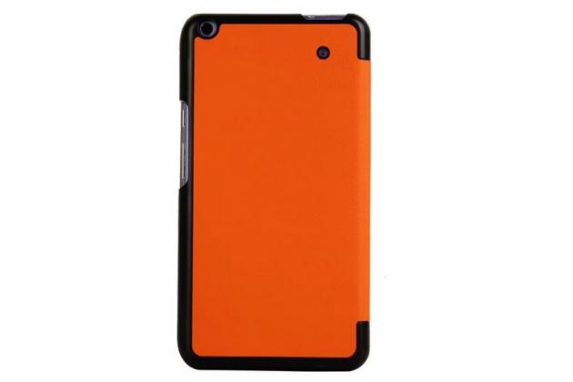 """Фирменный умный чехол-книжка самый тонкий в мире для Acer Iconia Talk S A1-724 """"Il Sottile"""" оранжевый кожаный"""