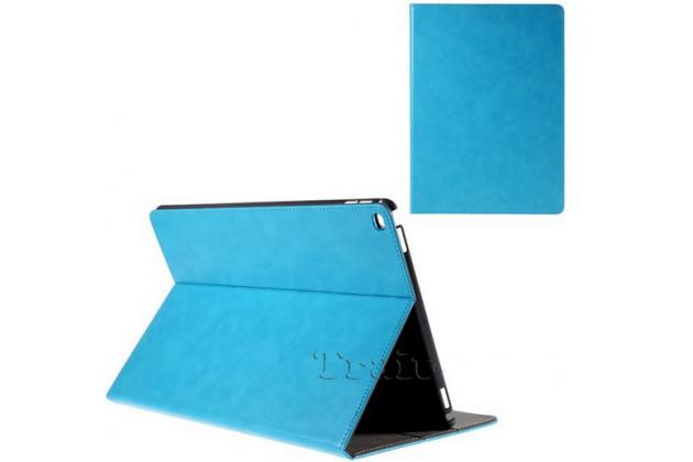 """Фирменный чехол открытого типа без рамки вокруг экрана с мульти-подставкой визитницей и держателем для руки для iPad Pro 12.9"""" голубой натуральная кожа """"Deluxe"""" Италия"""
