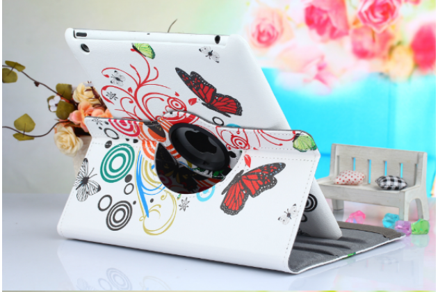 """Чехол для iPad 2/3/4 поворотный роторный оборотный """"тематика бабочки"""""""