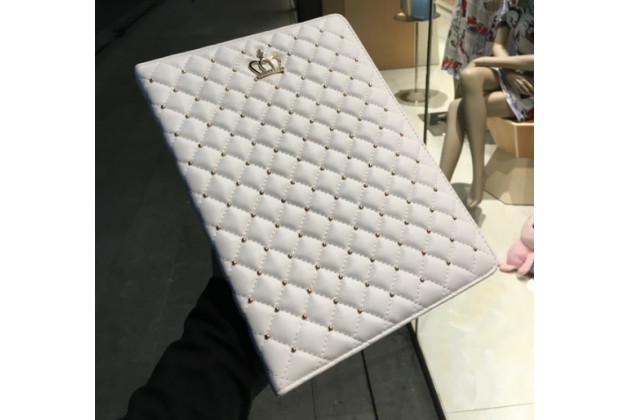 """Стёганная кожа в ромбик с узором чехол-обложка для iPad Pro 9.7"""" цвет белый кожаный"""