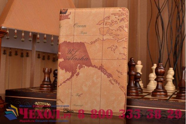 """Чехол-футляр для iPad Mini 4 """"тематика карта мира"""" кожаный коричневый"""