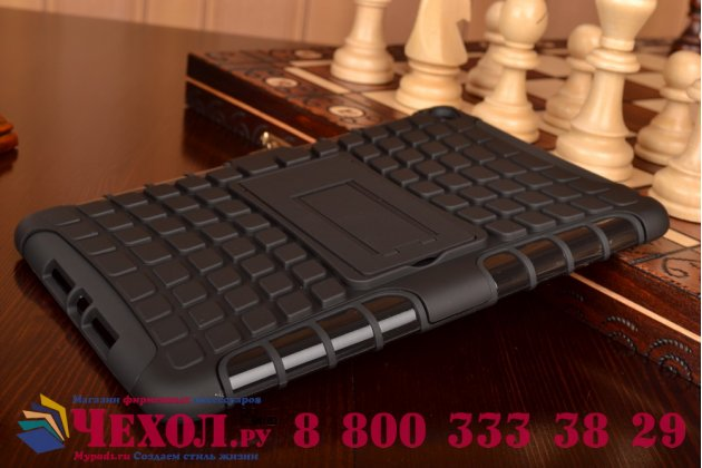 Противоударный усиленный ударопрочный фирменный чехол-бампер-пенал для iPad mini 4 черный