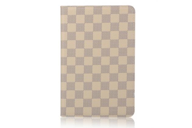 Фирменный чехол-обложка для iPad mini 4 в клетку белый кожаный