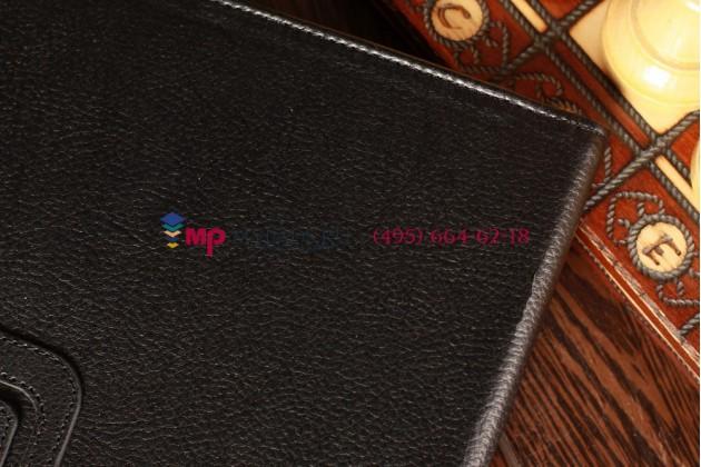 """Фирменный чехол бизнес класса для iPad Mini 2 Retina/iPad Mini 3 с визитницей и держателем для руки черный натуральная кожа """"Prestige"""" Италия"""