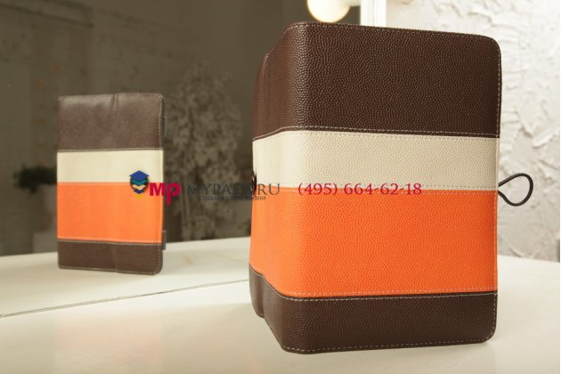 """Чехол-книжка для планшета с диагональю 7.0 дюймов оранжевый натуральная кожа """"Deluxe"""" Италия"""