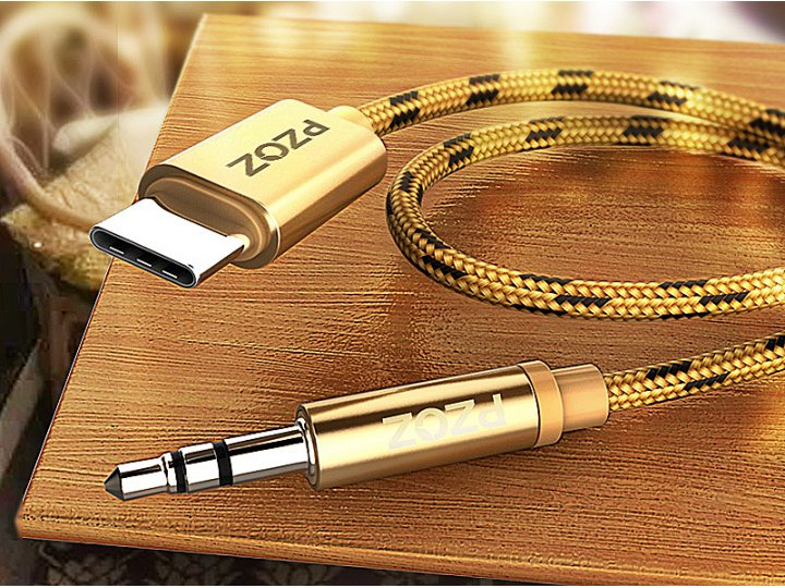 Фирменный автомобильный аудио-кабель AUX jack 3.5 (m) - TYPE-C для подключения акустических систем 1м золотой