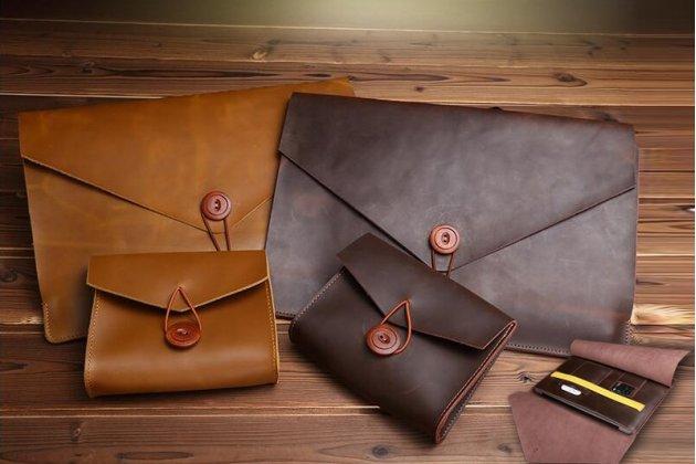 Фирменный оригинальный чехол-клатч-сумка с визитницей + чехол для зарядного устройства для Apple MacBook 12 Early 2015 / 2016 / Mid 2017 ( A1534 / A1527) из качественной импортной кожи