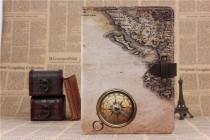 """Фирменный премиальный элитный чехол-книжка из качественной импортной кожи с мульти-подставкой и застежкой для iPad Air 2  """"тематика Карта мира"""""""