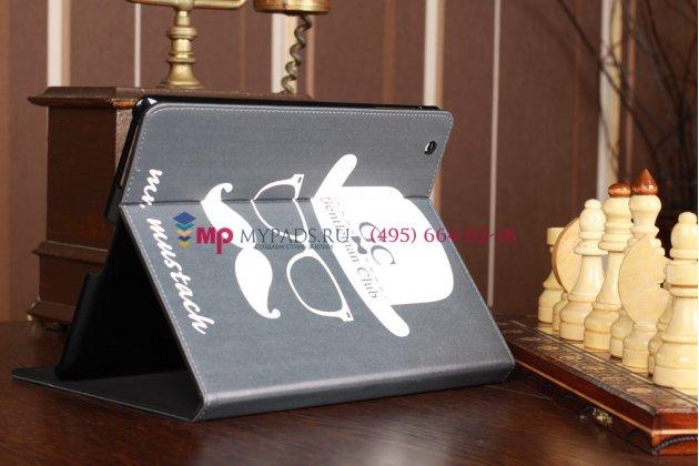 "Чехол для Apple iPad 2/34 ""тематика клуб джентльменов"" дымчатый кожаный"