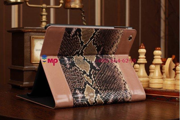 """Чехол-обложка для iPad 2/3/4 """"змеиная кожа"""" коричневый кожаный с застёжкой на молнии"""