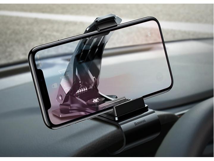 Автомобильная подставка-держатель под телефон на панель в машину с прищепкой с шириной 35-70мм черная