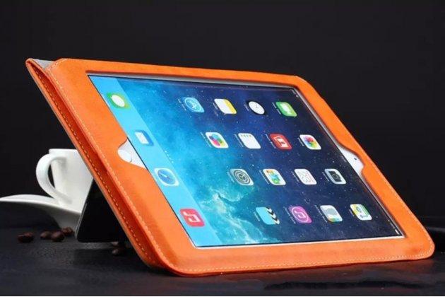 Фирменный премиальный чехол бизнес класса для iPad Mini 1/2/3 с визитницей из качественной импортной кожи оранжевый