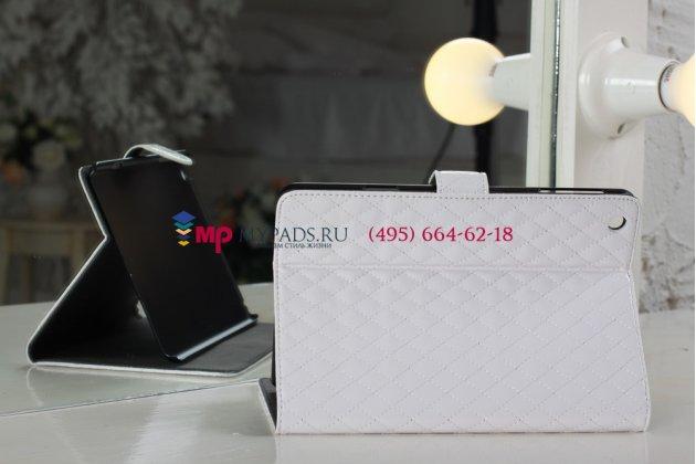 Стёганая кожа в ромбик чехол-обложка для iPad Mini  1/2/3 белый