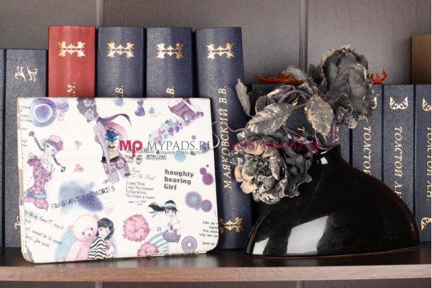 """Чехол-обложка для iPad2/new iPad 3 тематика """"модная девушка"""" кожаный"""