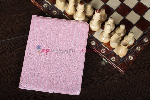 Фирменный чехол-обложка для iPad2/new iPad 3/iPad 4 роторный оборотный поворотный кожа крокодила розовый